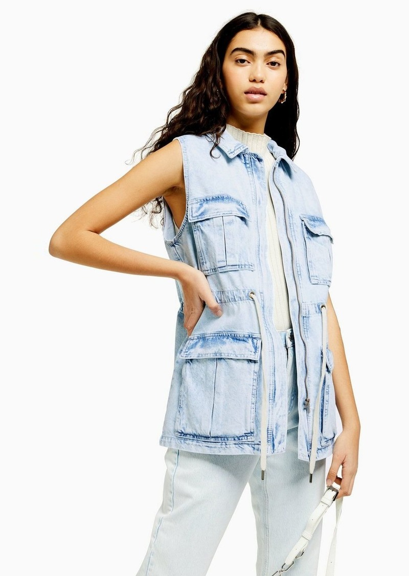 Acid Wash Denim Sleeveless Jacket