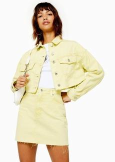 Topshop Acid Wash Lime Crop Denim Jacket
