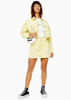 Topshop Acid Wash Lime Denim Mini Skirt