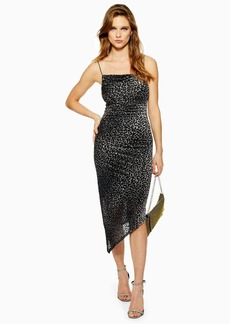 Topshop Animal Print Burnout Slip Dress