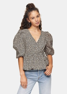 Topshop Clothing /Shirts Blouses /Animal Print Puff Sleeve Wrap Blouse