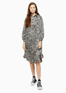 Topshop Animal Ruffle Hem Shirt Dress