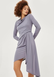 Asymmetric Crepe Drape Mini Wrap Dress