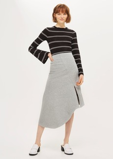 Asymmetric Split Jersey Midi Skirt