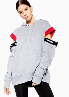 Topshop Asymmetric Tape Logo Hoodie By Ivy Park