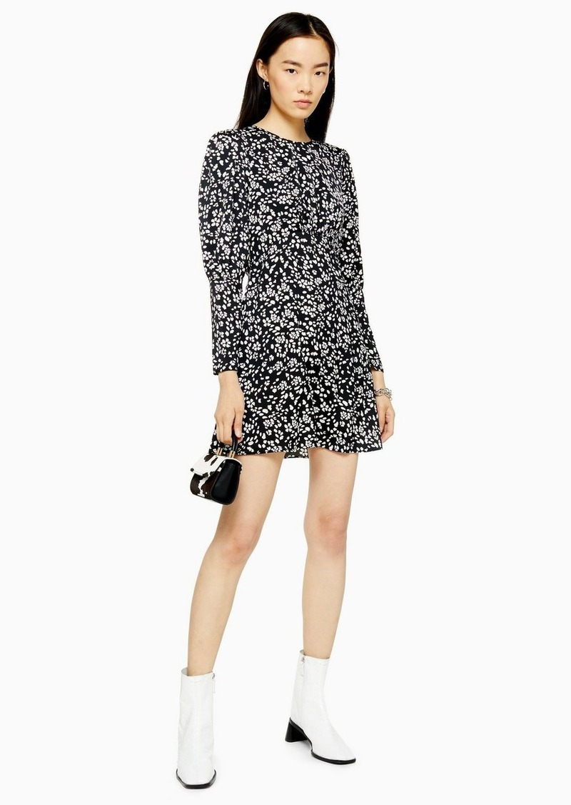Topshop Austin Black And White Printed Long Sleeve Mini Dress