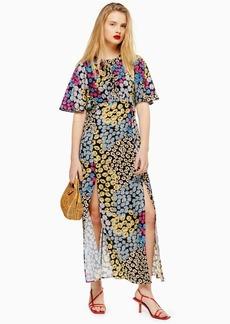Topshop Austin Multicoloured Floral Daisy Print Angel Sleeve Midi Dress