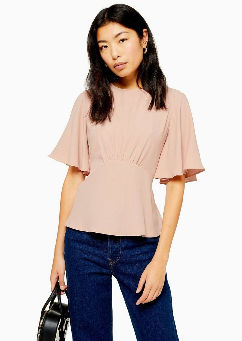Topshop Austin Plain Pink Angel Sleeve Blouse
