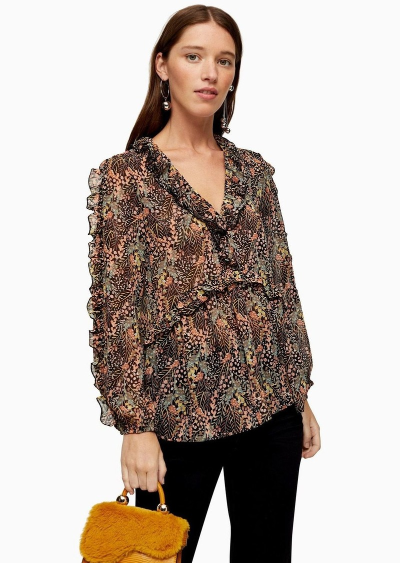 Topshop Autumn Leaf Print Blouse