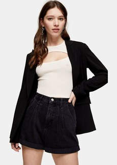 Topshop Balloon Roll Hem Black Denim Shorts