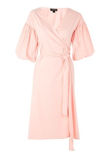 Balloon Sleeve Wrap Midi Dress