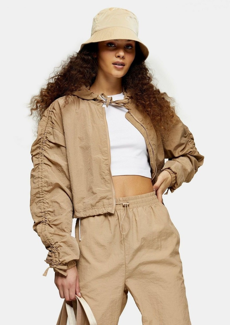 Topshop Beige Shell Cropped Jacket