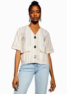 Topshop Beige Stripe Button Down Top With Linen