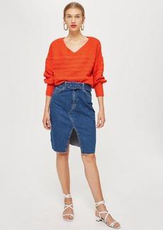 Topshop Belted Denim Midi Skirt
