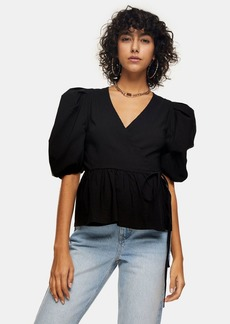 Topshop Clothing /Tops /Black Stretch Wrap Top