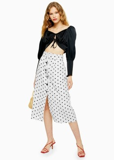 Topshop Black And White Belted Spot Midi Skirt