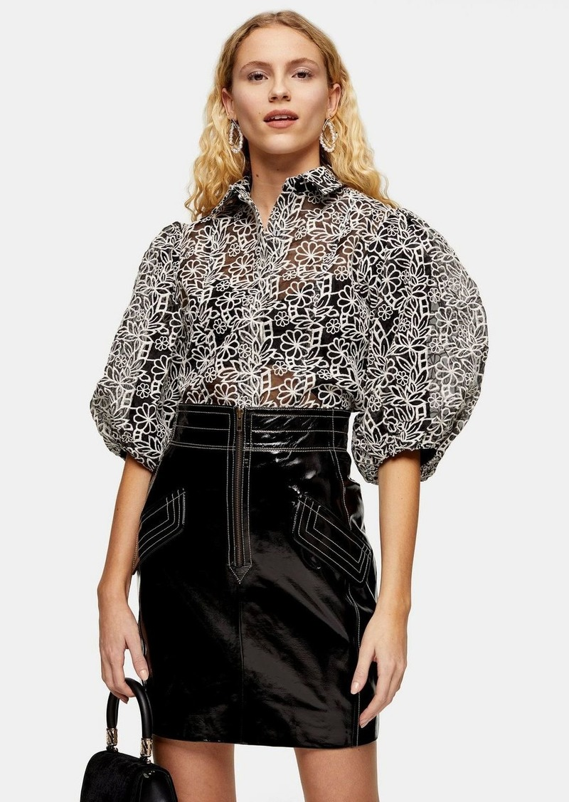 Topshop Black And White Embroidered Organza Blouse