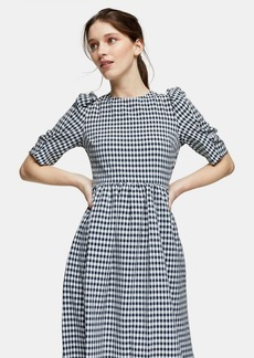 Topshop Black And White Gingham Cross Back Smock Midi Dress