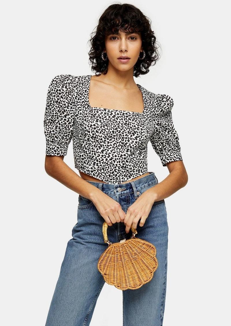 Topshop Black And White Leopard Print Corset Top
