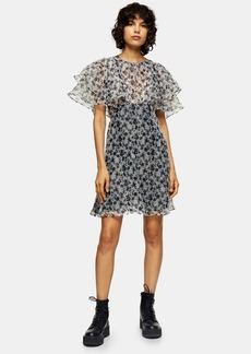 Topshop Black And White Organza Floral Mini Dress