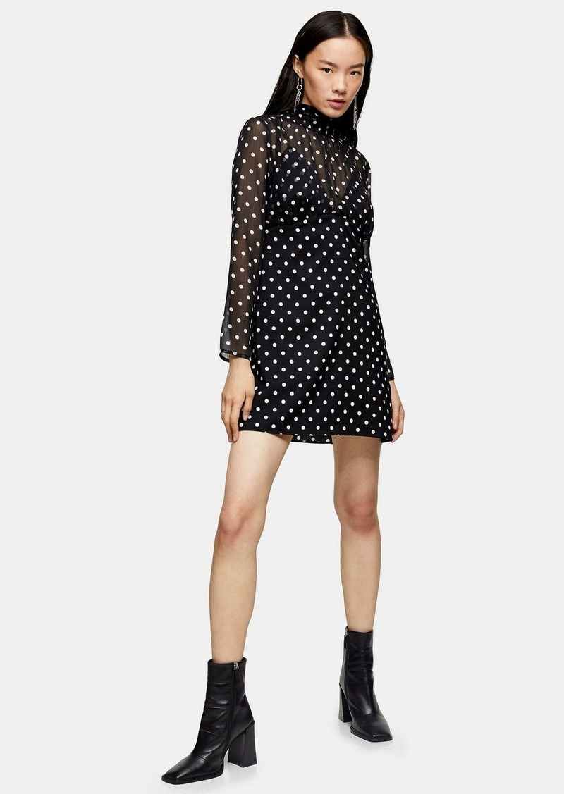 Topshop Black And White Shirred Neck Spot Mini Dress
