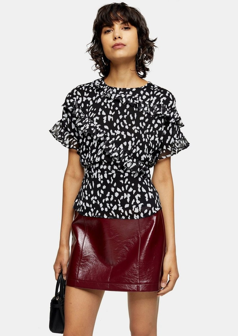 Topshop Black And White Short Sleeve Frill Animal Print Top