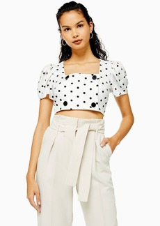 Topshop Black And White Spot Button Crop Top