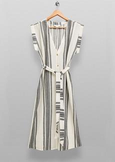 Topshop Black And White Stripe Midi Beach Dress