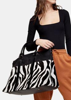 Topshop Black And White Zebra Print Large Weekend Bag