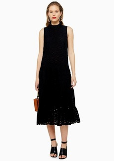 Topshop Black Broderie Anglaise Smock Dress
