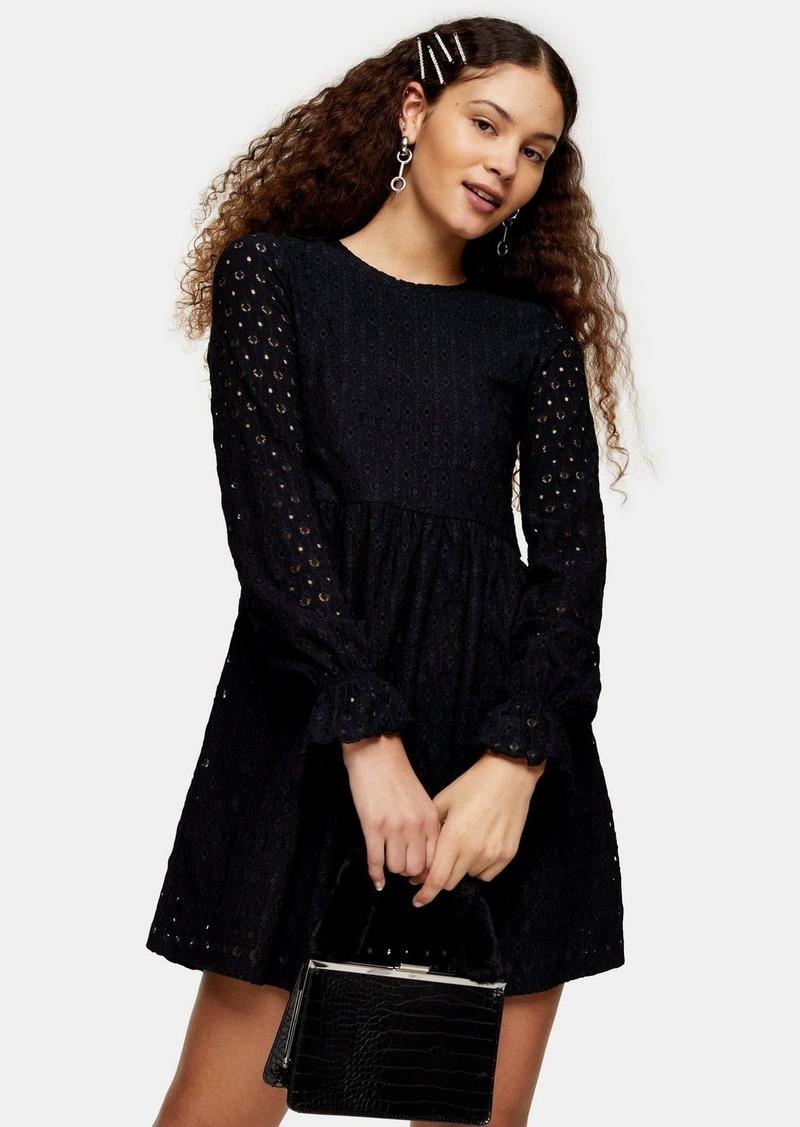 Topshop Black Broderie Long Sleeve Baby Doll Dress