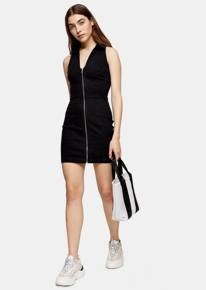Topshop Black Collar Zip Joni Dress