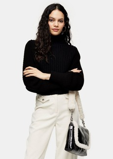 Topshop Black Contrast Sleeve Sweater