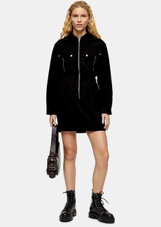 Topshop Black Corduroy Zip Through Shirt Dress