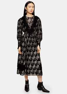 Topshop Black Coupe Lace Midi Dress