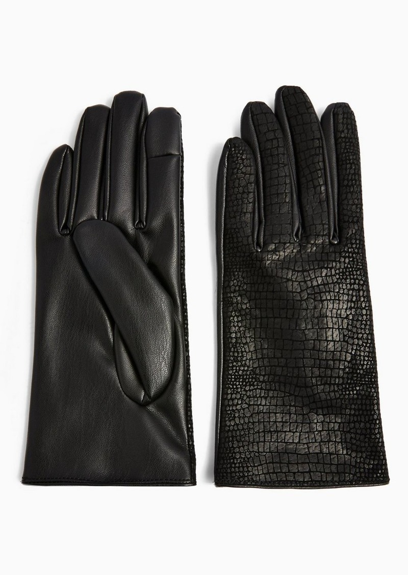 Topshop Black Crocodile Effect Touchscreen Gloves With Leather