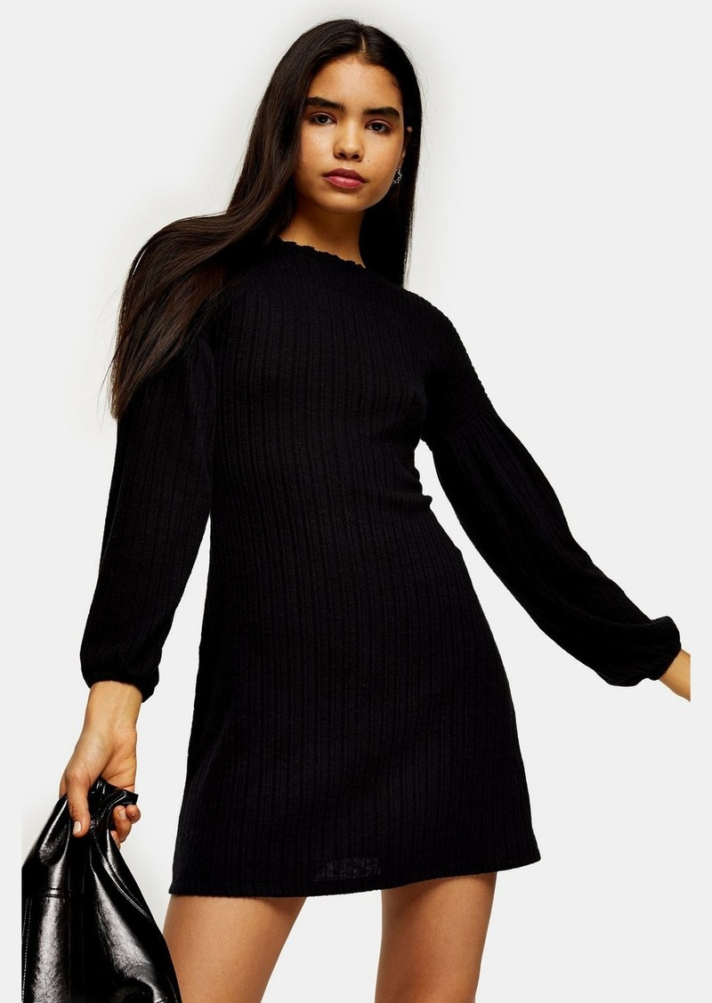 Topshop Black Cut And Sew Balloon Mini Dress