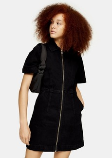 Topshop Clothing /Dresses /Black Denim Zip Through Short Sleeve Shirt Dress