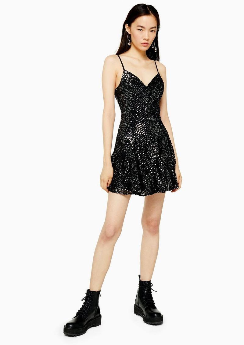Topshop Black Embellished Godet Mini Dress
