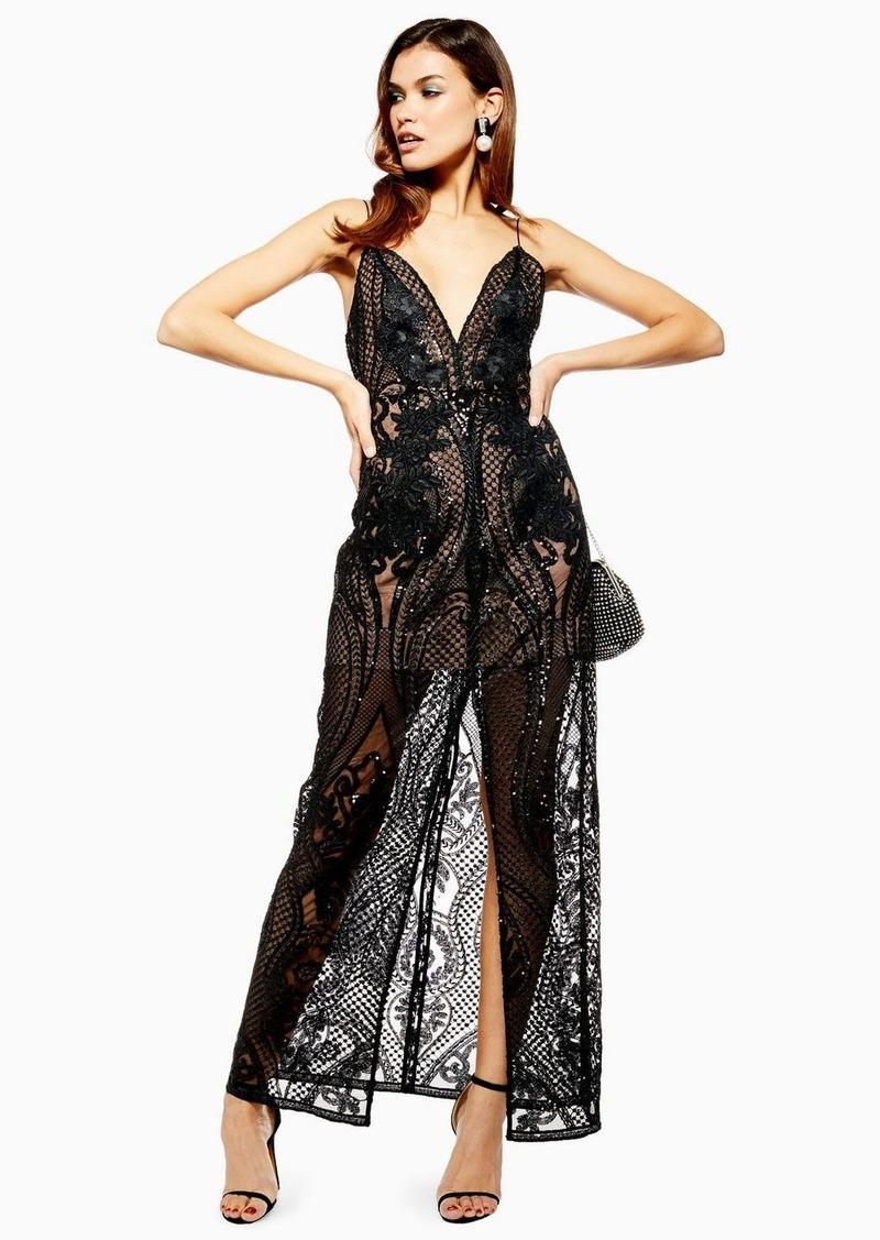 Topshop Black Embellished Plunge Sheer Maxi Dress