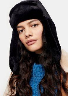 Topshop Black Faux Fur Trapper Hat