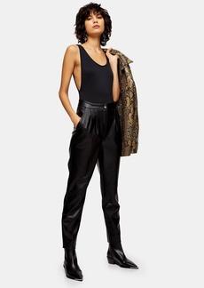 Topshop Black Faux Leather Peg Pants