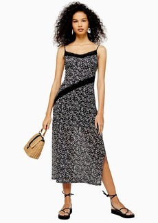 Topshop Black Floral Lace Mesh Midi Dress
