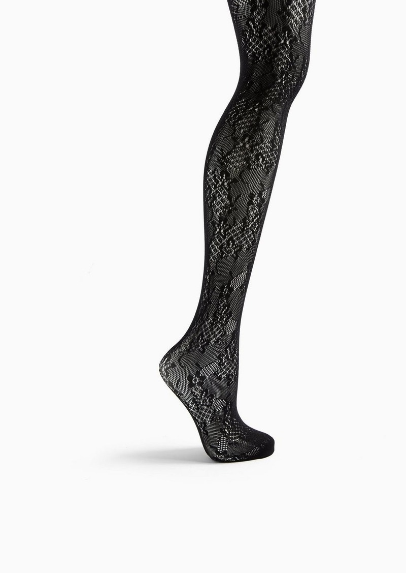 Topshop Black Floral Lace Tights