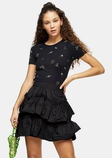 Topshop Black Floral Print T Shirt