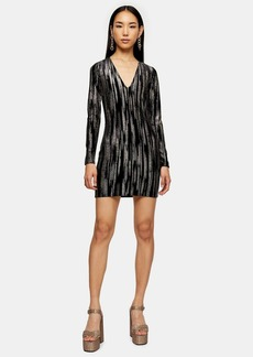 Topshop Black Glitter Velvet Mini Dress