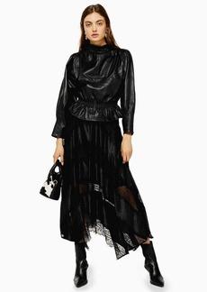 Topshop Black Jacquard Lace Trim Midi Skirt