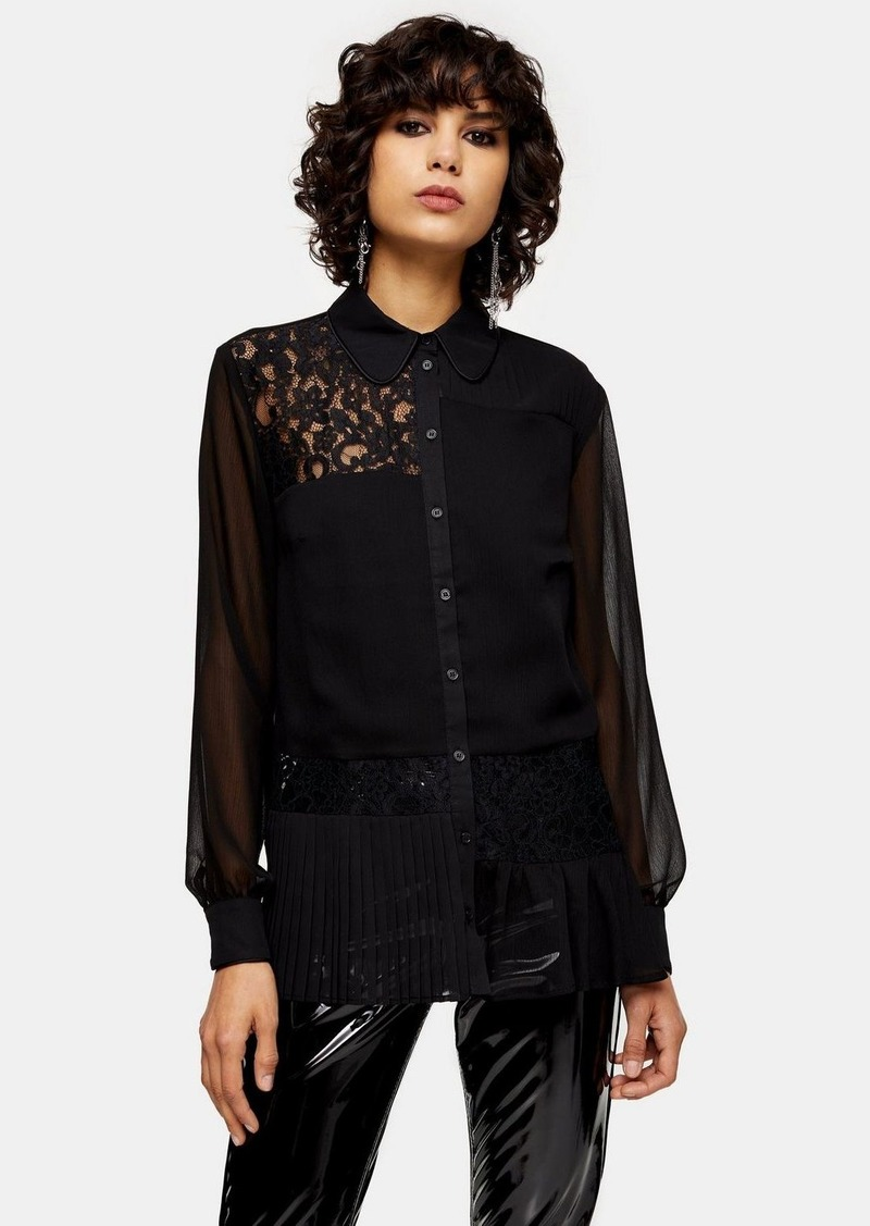 Topshop Black Lace Mix Technique Shirt