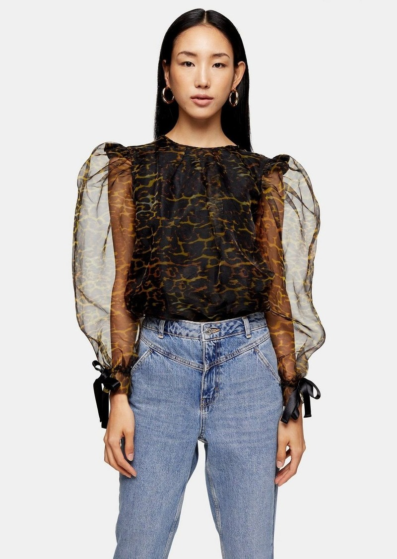 Topshop Black Leopard Organza Blouse With Bow Detail