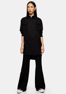 Black Longline Oversized Shirt By Topshop Boutique